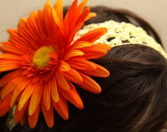 "Large Orange Gerber Daisy on a 1.5"" wide Yellow Crocheted Headband - Handmade Hair Flower"