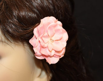 Antique Pink Flower on an Alligator Clip- Handmade Hair Flower