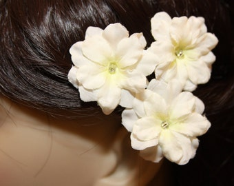 3 White Blossoms on Heavy Weight Bobby Pins - Handmade Hair Flower