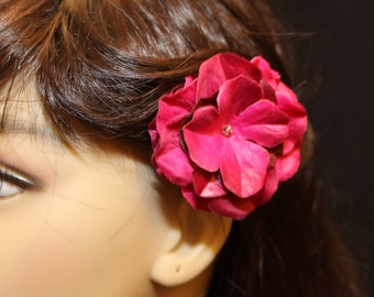 Magenta Flower on an Alligator Clip- Handmade Hair Flower