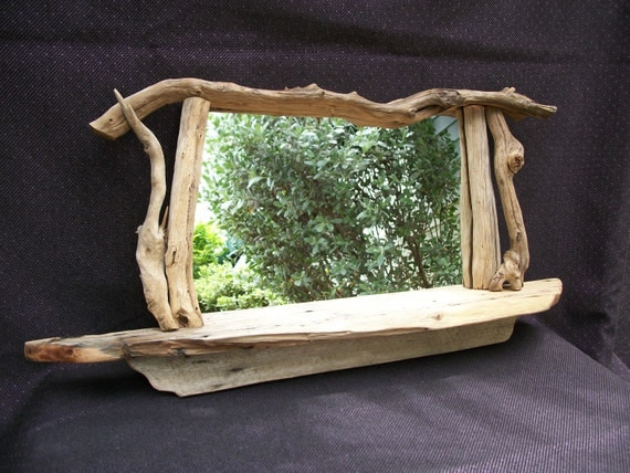 Driftwood Free Form Mirror with a shelf