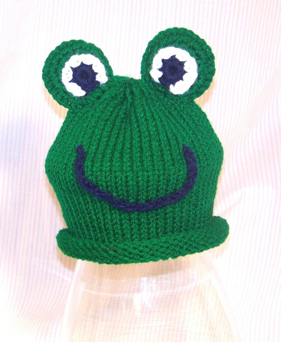 Knitting Pattern For Frog Slippers : Items similar to Knitted Baby Frog Hat Pattern on Etsy