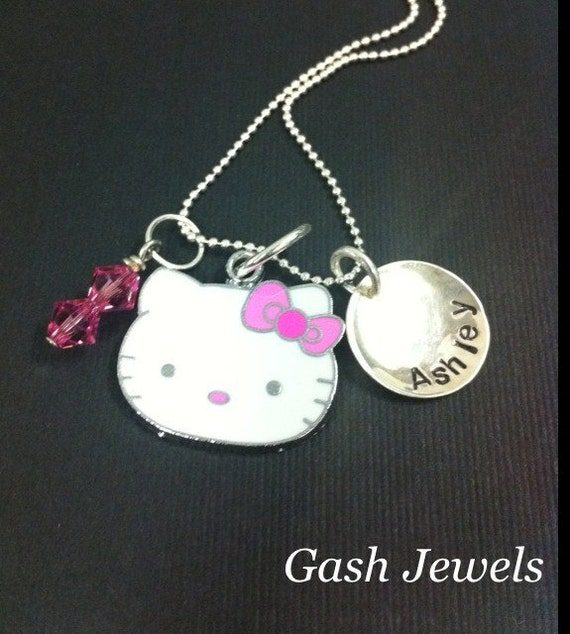 Hello Kitty Sterling Silver Hand Stamped Necklace