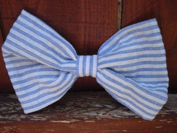 Nautical Blue and White Seersucker Bow