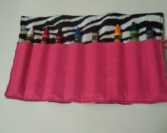 Zebra crayon roll up 8 count