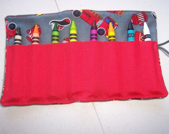 Firetruck crayon roll up 8 count