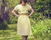 Vintage 1980s Spring Sunshine Sheer Dress with Matching Belt