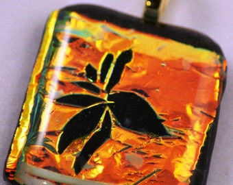 Fused Glass Pendant - Etched Flower in Dicroic