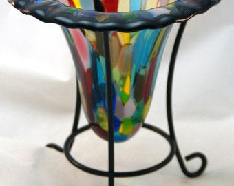 Fused Glass Drop Vase - Colored Dots Drop Vase with Stand