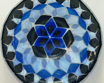 Fused Glass Bowl - Blue Aventurine Geometric Star