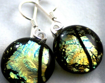 Fused Glass Earrings Dichroic Gold under Clear