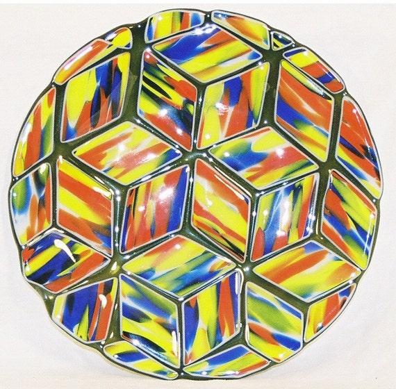 Fused Glass Plate - Brilliant Colored Diamonds