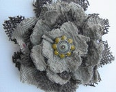 """4"""" Hand made  fabric and brown burlap, very 3 D flower."""