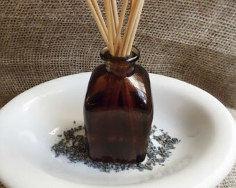Lavender Vanilla DIffuser  made from Recycled Amber Glass- 9 Ounce