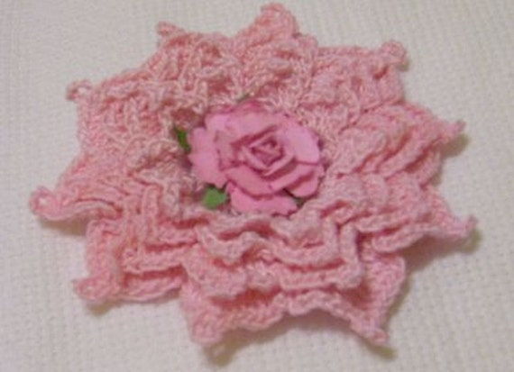 """4"""" orchid pink crocheted size 10 cotton  thread applique scrapbooking sewn on home decor handmade embellishments"""