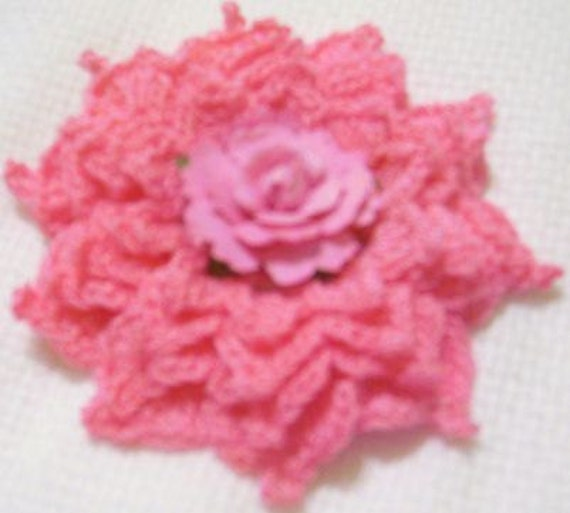 "4"" french pink crocheted size 10 cotton thread applique scrapbooking sewn on home decor handmade embellishments"