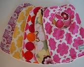 Modern Baby Girl Bibs, Designer fabrics with White Minky backs
