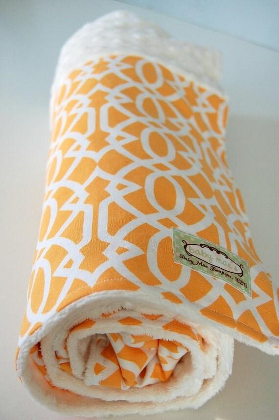 Ooak Toddler/Baby Blanket, READY TO SHIP: Garden Trellis in Sunset Patchwork Minky Blanket