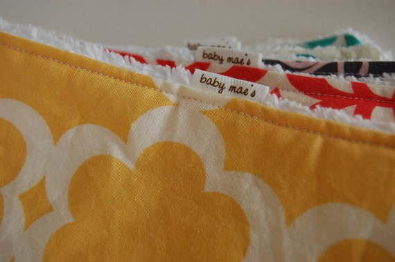 Baby Burp Cloths - Design Your Own Set of 5 Burp Cloths, Choose from over 80 Designer Fabrics
