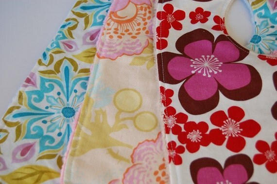 Baby Girl Bibs, Set of 3 Ready to Ship