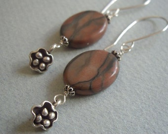 Zebra Jasper and Sterling Silver Earrings