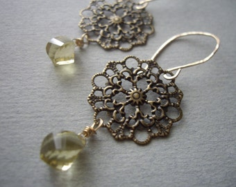 Lemon Quartz and Filigree Drop Earrings