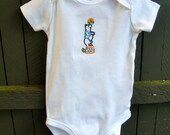 6m Bodysuit, Hand Embroidered Design of a Retro Bear Wind Up Toy