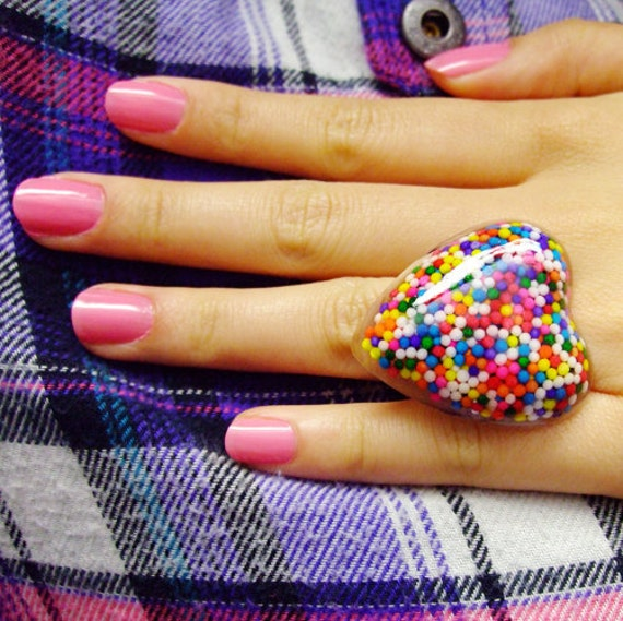 Yummy Heart Sprinkle Ring - Adjustable