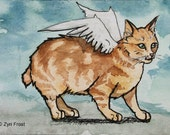 Red tabby angel manx cat, Original watercolor and ink ACEO size 2.5 x 3.5 inches