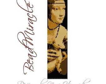 Lady with an Ermine (Leonardo da Vinci) - PDF Peyote Barcelet Pattern