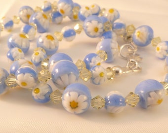Blue Venetian Millefiori Glass Sterling Silver Necklace