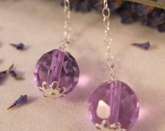 Purple Czech Glass 925 Sterling Post Earrings