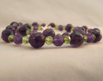 Amethyst, Peridot Necklace 925 Sterling Silver