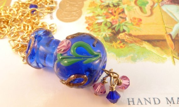 Venetian Glass Blue Bottle Fiorato Necklace 14K Gold Filled