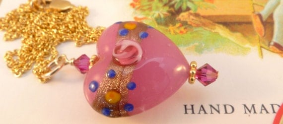 Venetian Glass Pink Heart Necklace 14K Gold Filled
