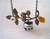 Black Sleepy Owl and Berry Branch Necklace