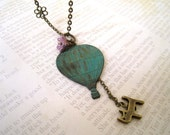 Fly with Me. Hot Air Ballon Pendant with Kitty Necklace