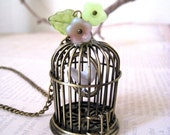 Birdcage Necklace. antique brass bird cage necklace. garden necklace. miniature birdcage necklace. garden jewelry