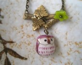 Sweet Owl with Maple Leaves Branch Necklace