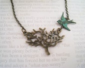 Tree Pendant and Flying Bird Necklace