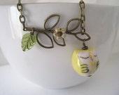 Yellow Owl on Leafy Branch Bracelet