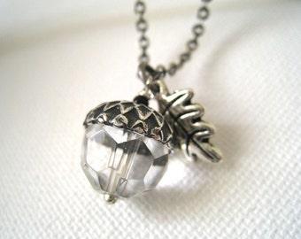 Antique Silver Oak Leaf and  Acorn Necklace