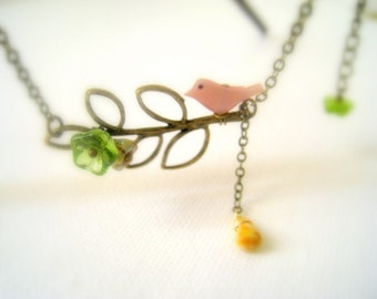 Lovely Little Bird Perches on  Leafy Branch Necklace