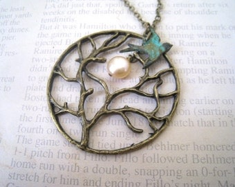 Full Moon Tree Necklace. Antique Brass Chain with  Flying Sparrow