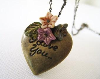 I Love You Heart Locket Necklace