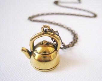 Antique Gold Teapot Necklace