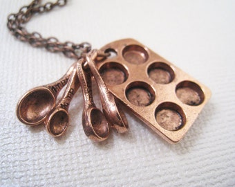 Muffin Pan and Measuring Spoons Necklace in Antique Copper. Mother's gift. birthday. everyday jewelry