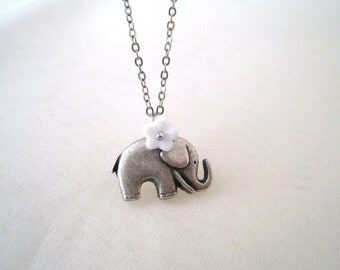Elephant Necklace. silver elephant charm with little white flower necklace. initial personalized necklace