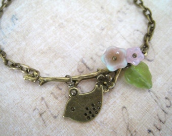 Antique Brass Flower Branch with Sweet Sparrow Bracelet