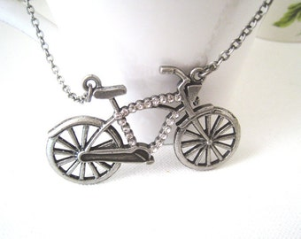 Bicycle Necklace. rhinestone antique silver bicycle pendant